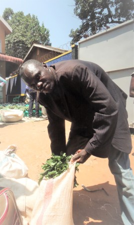 Julius Mazima collecting his food during one of the food and nutrition support days at AMS